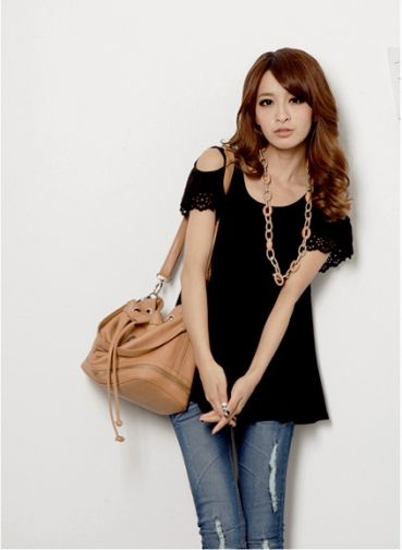 Creative Hollow Sleeve Hole Women T-shirt Black on BuyTrends.com, only price $9.59