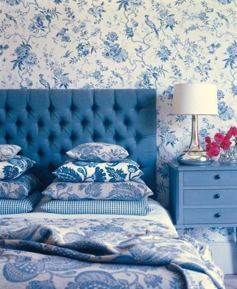 Beautiful Floral Pattern Bedroom Ideas Blue Headboard Blue