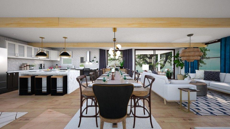 Open Concept E Design Rendering Living Modern Interior
