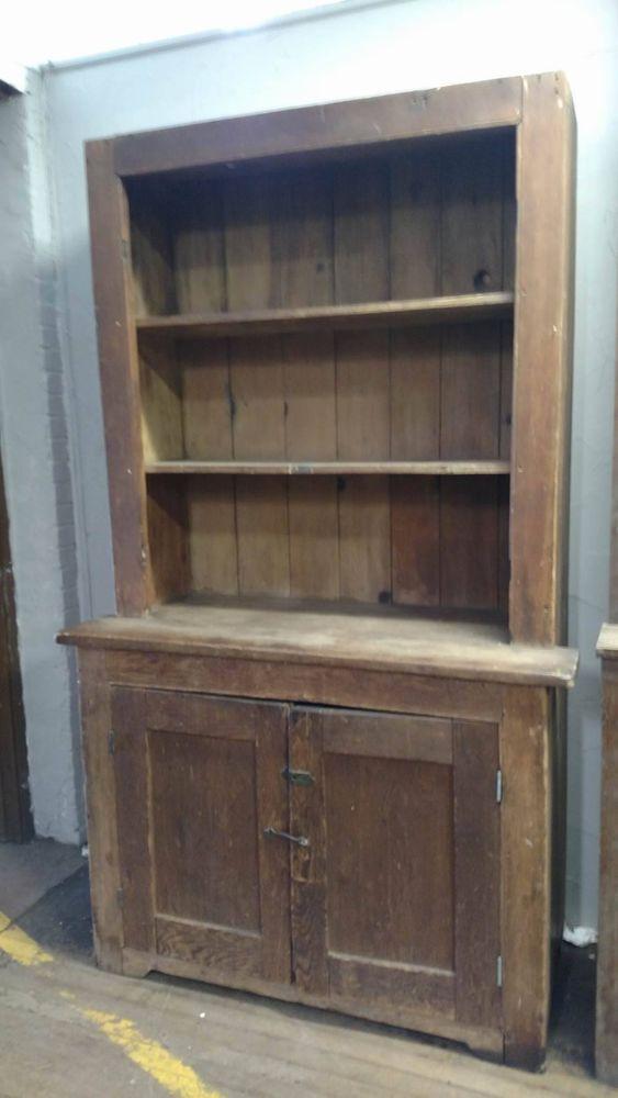Antique Primitive Early Large Old Stepback Cupboard Cabinet Square Nailed - Antique Primitive Early Large Old Stepback Cupboard Cabinet Square