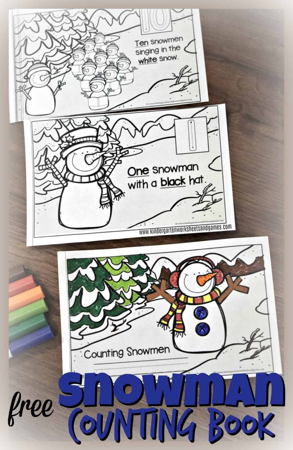 Free Snowman Counting Book