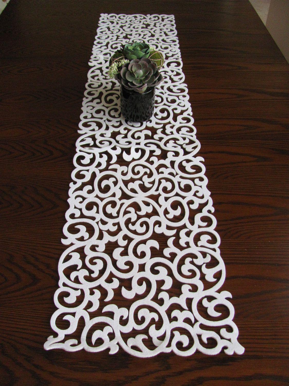 laser cut filigree black felt table runner svpply white modern pattern thick cut out felt table runner - Modern Runners