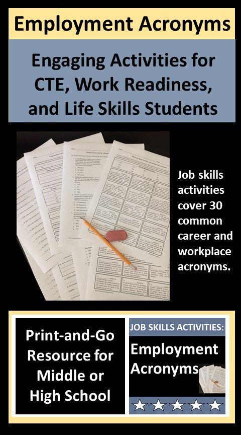 Job Skills Activities Employment Acronyms Student Jobs