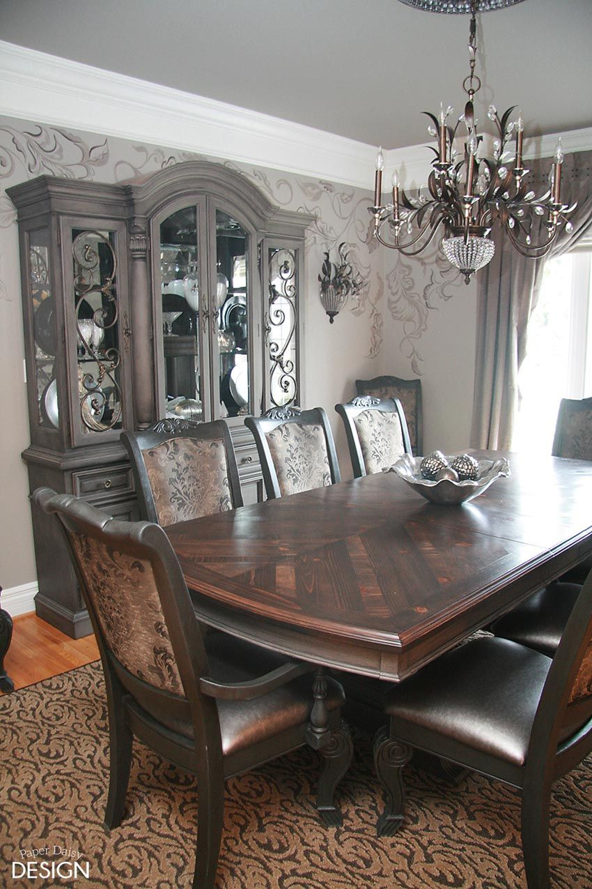 Chalk Paint Dining Room Table Coco Chalk Paint And Black Coffee Metallic Glaze On The Buffet And
