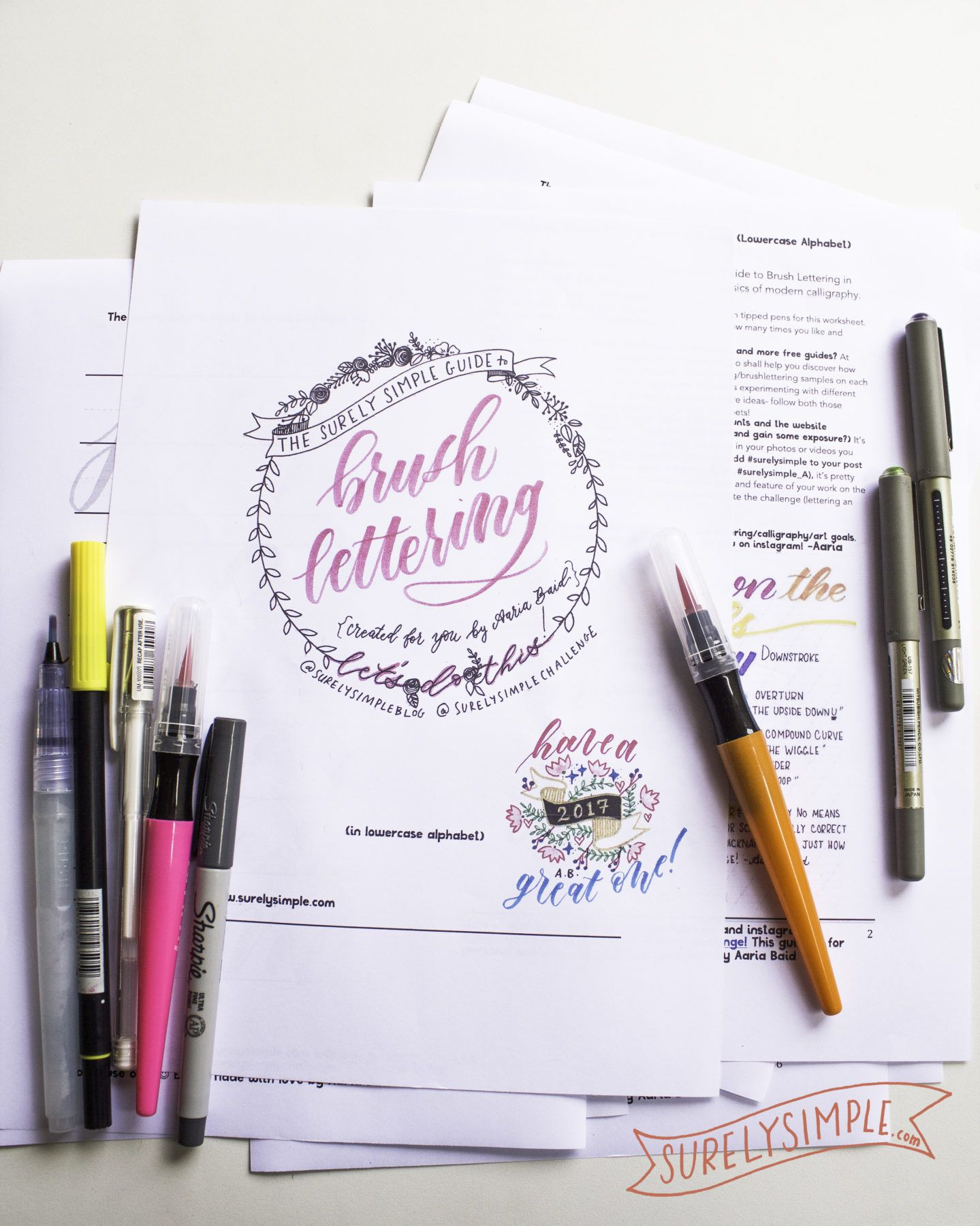 Free Brush Lettering Worksheet Download In Lowercase