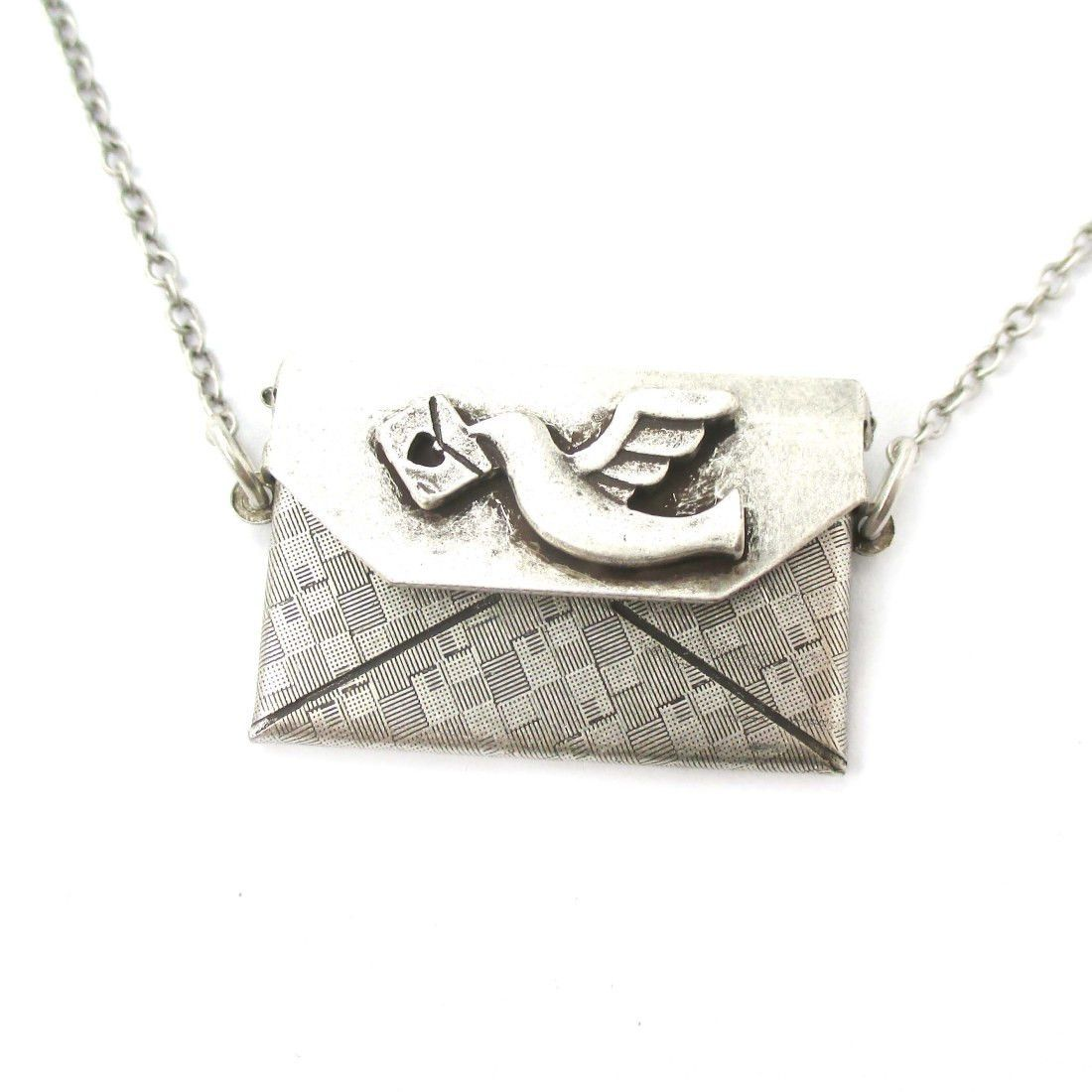 I love you letter envelope shaped pendant necklace in silver