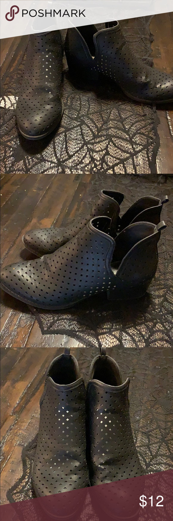 Black Arizona mesh ankle boots Good condition. Clean! Super cute for Fall with skinny jeans or a dress! Arizona Jean Company Shoes Ankle Boots & Booties #skinnyjeansandankleboots