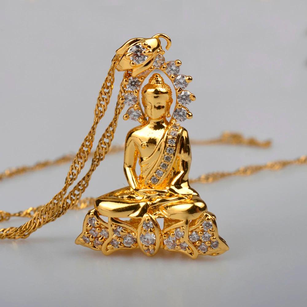 Gold Sitting Thai Buddha CZ Pendant High Quality Chain