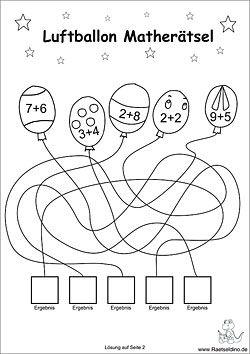 Luftballon Rätsel für Kinder | MATEMATIKA | Pinterest | Geocaching