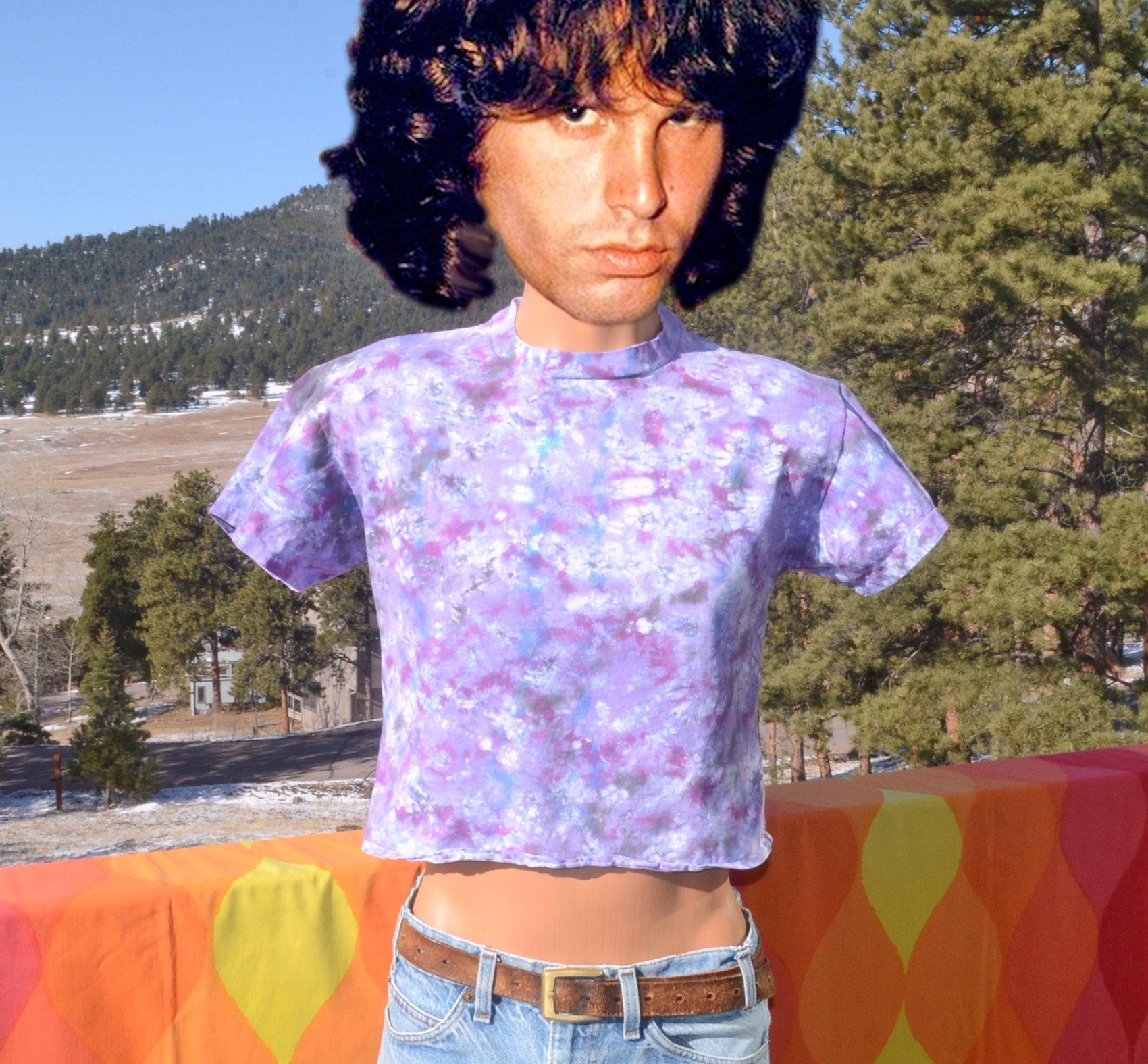 1ded080c 80s vintage t-shirt TIE DYE crop top psychedelic hippie half tee Medium  Large purple
