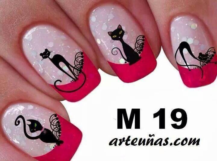 Diseños con gatos | Uñas en 2019 | Pretty nails, Cat nails ...