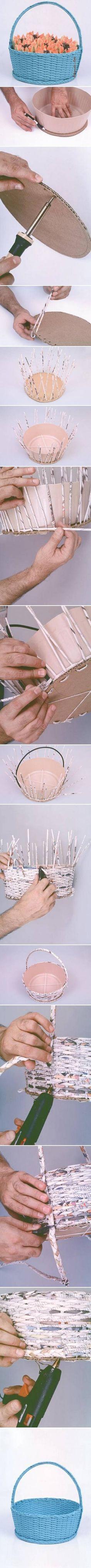Cesta realizada en papel de periódico reciclado - DIY Simple Newspaper Basket