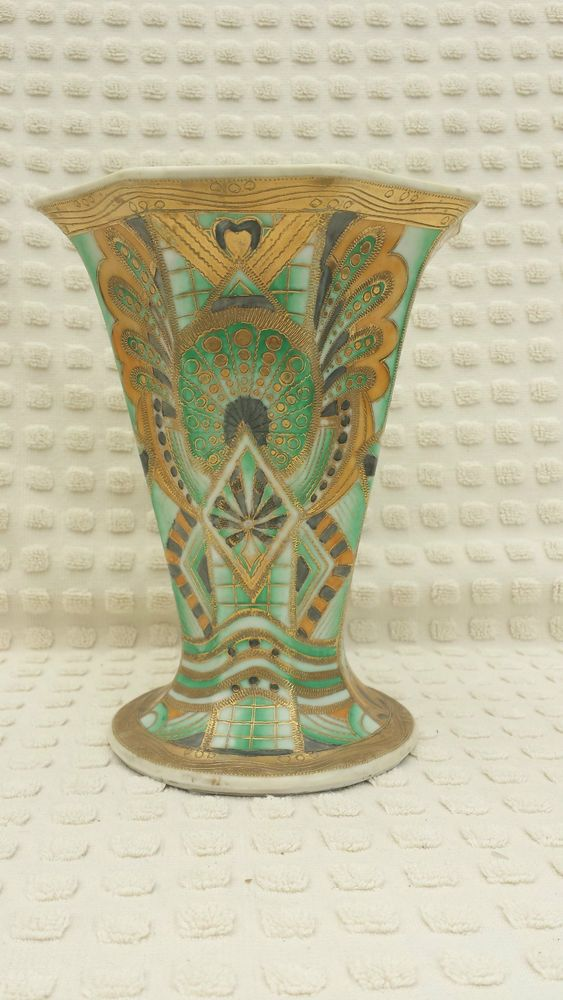 Rare Design Hand Painted And Gilded Noritake Vase Nippon Nippon