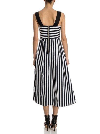 Blue and white striped dress, black straps, slit pockets, zip closure on the back. - Tara Jarmon - Cotton dress