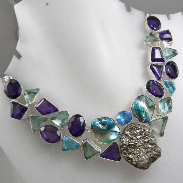 Gorgeous necklace - amethyst, blue quartz
