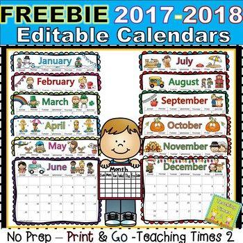 2018-2019 Editable Calendars - Lifetime Updates PDF  POWER POINT