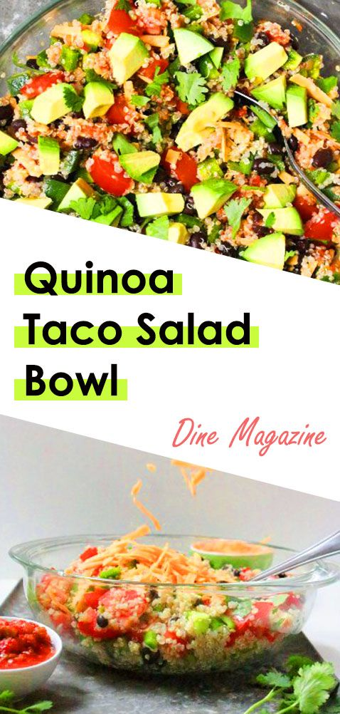 Quinoa Taco Salad - Quinoa recipes, Lunch recipes, Vegan dinner recipes, Quinoa taco bowl, Healthy taco recipes, Vegetarian taco salad. There are Healthy Salad Recipes, Vegan, Burrito Bowls, Protein, Ground Beef, Meal Prep, With Meat, Chicken, Dressing, Vegetarian. #healthytacosalad #tacosaladrecipe #tacosaladdoritos #quinoatacobowl #tacosalad