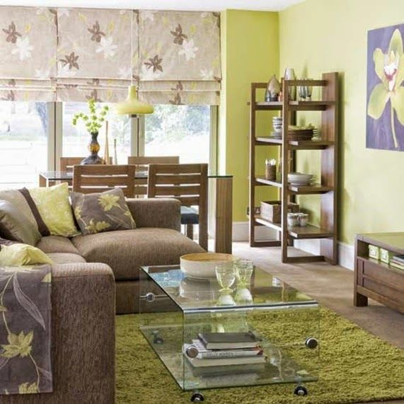 Sala color verde y marr n decoraci n pinterest for Paredes grises y muebles marrones
