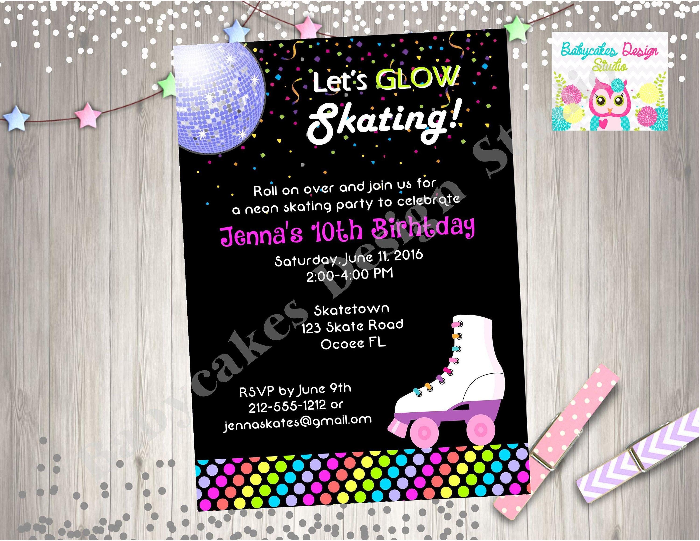 Neon Roller Skate Birthday Party Invitation Roller Skating Neon