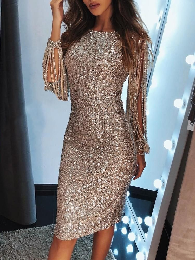 c4b87854 Tassels Detail Slit Sleeve Sequin Party Dress in 2019 | Hebe dress ...