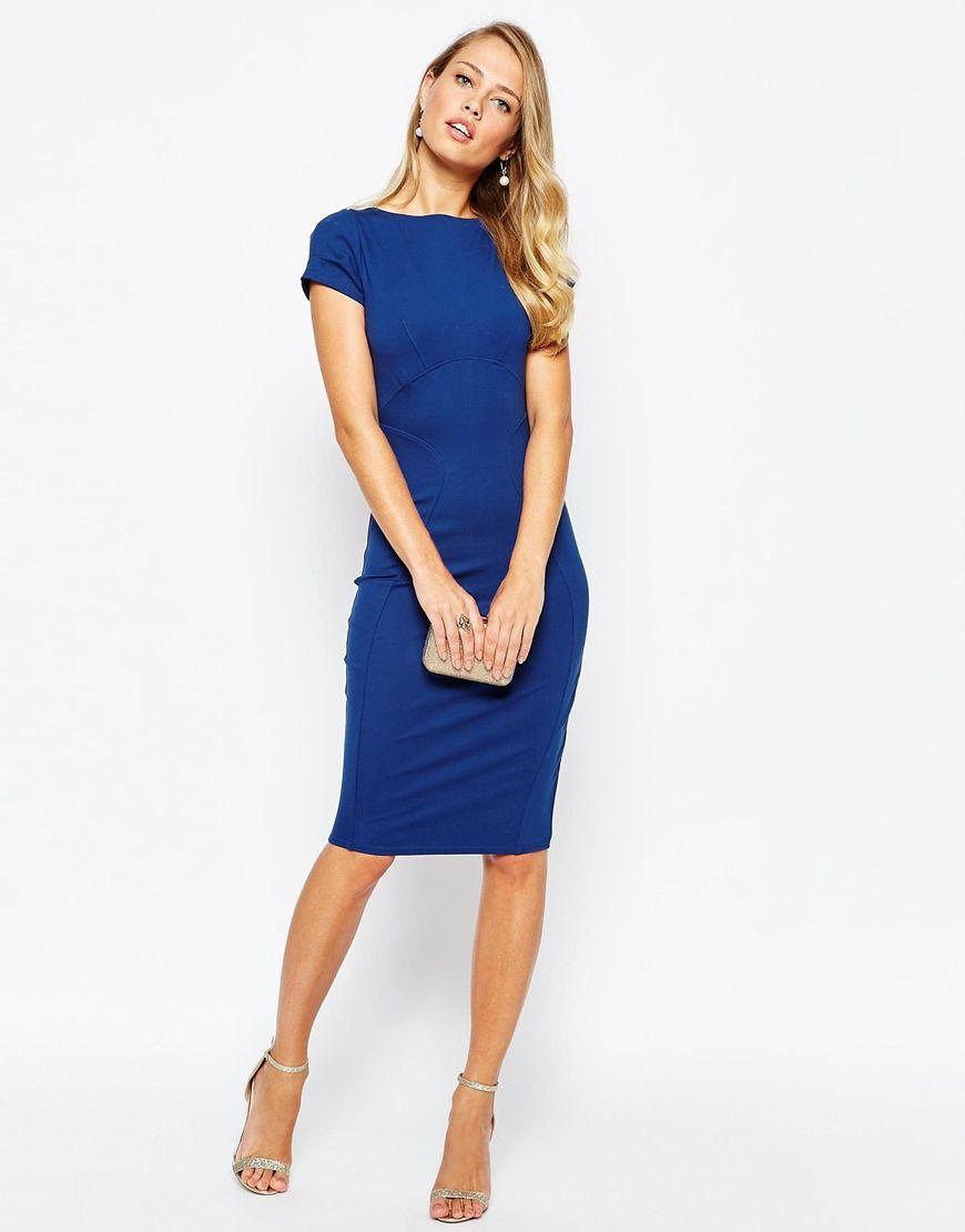 pencil dress with ruched cap sleeve in blue - Cobalt Closet ZEIzZ
