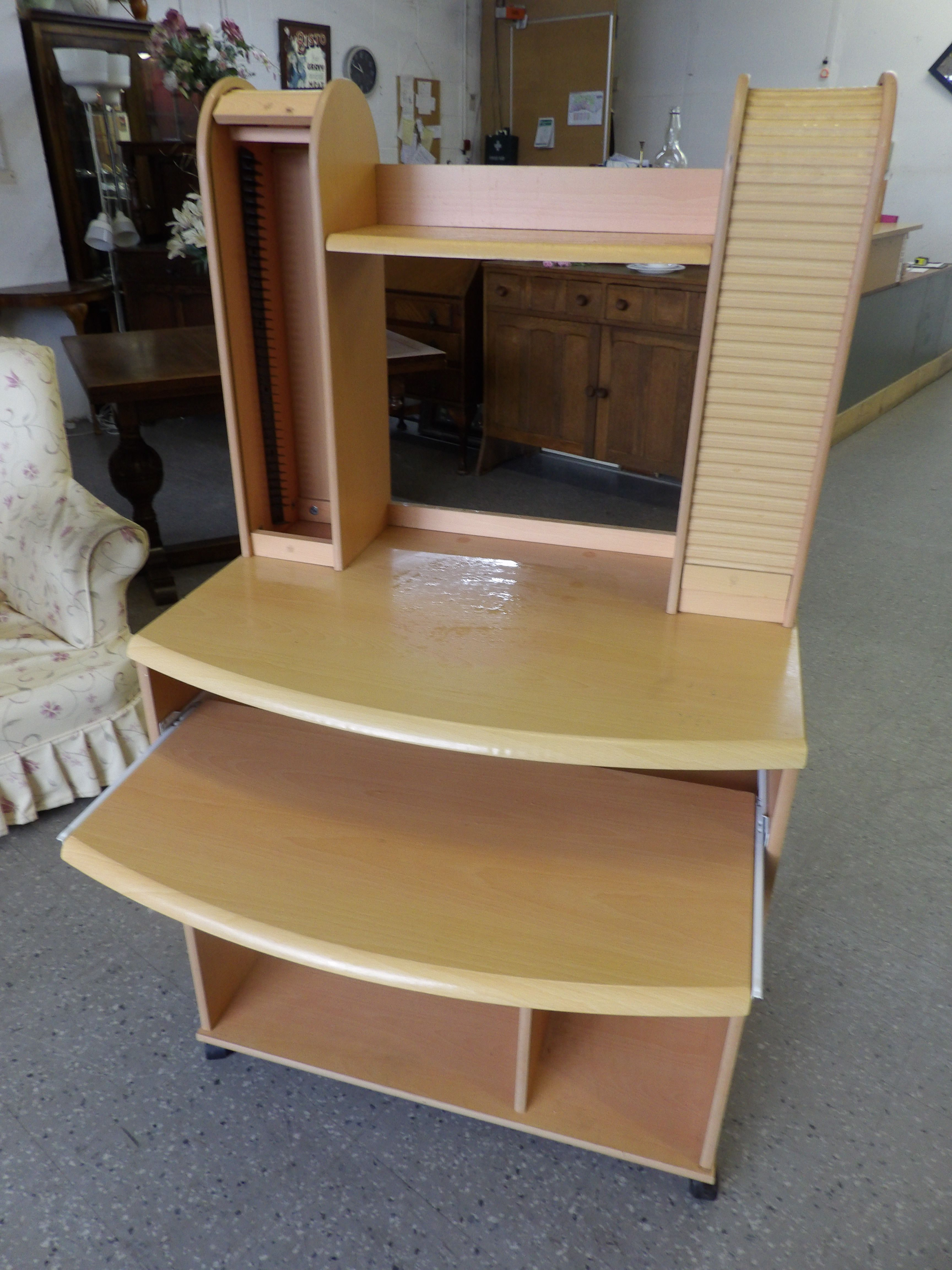 large computer desk with cd rack and lower shelves on casters rh pinterest com Office Shelves shelving on casters for library