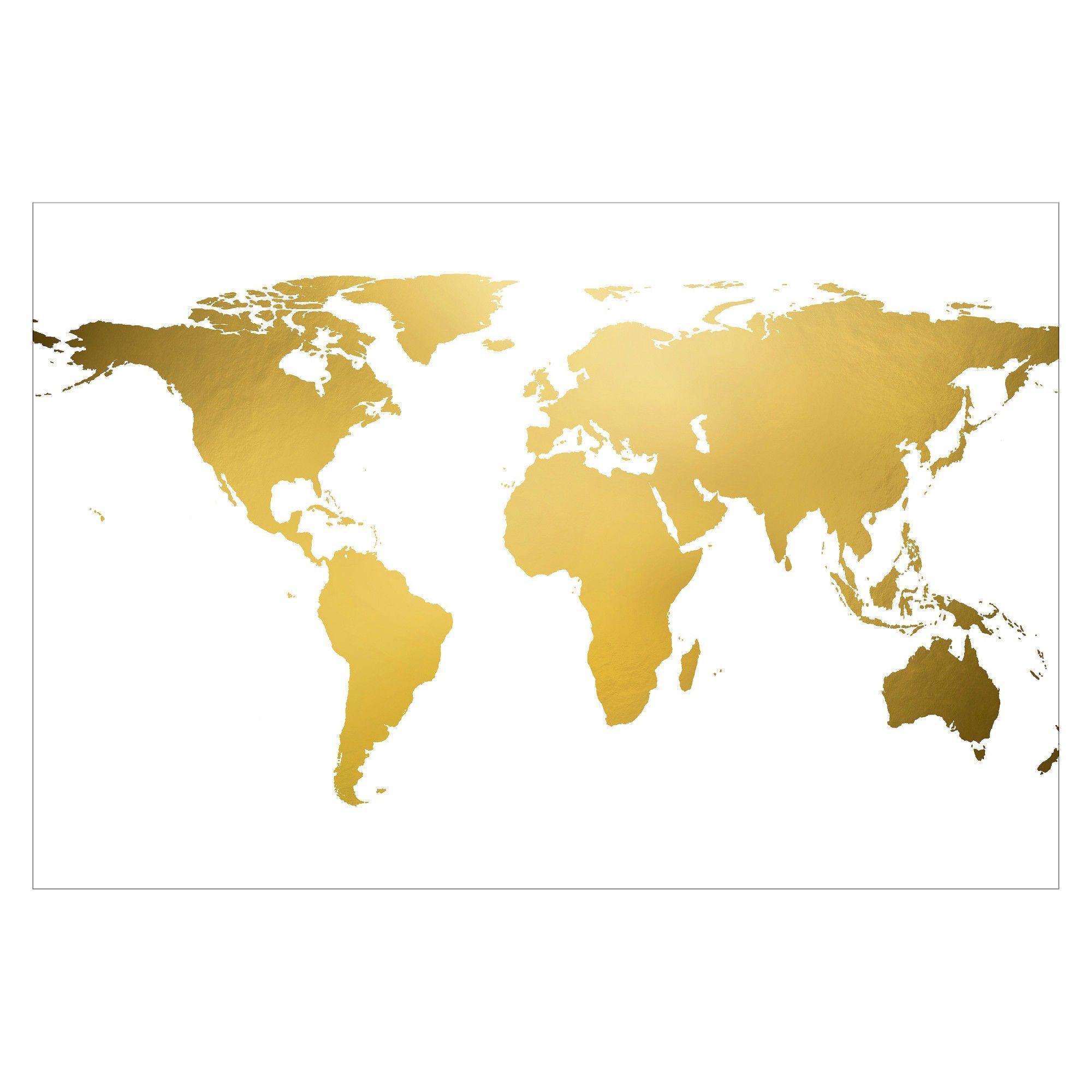 Art.com Gold World Map (gold foil) Unframed Wall Art Print | Products