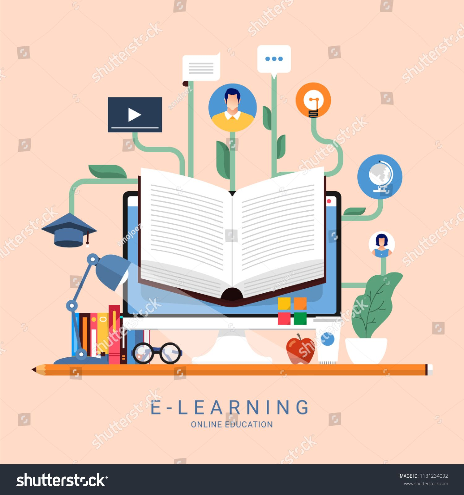 Flat Design Concept People Education Online Knowledge Witgh E Learning Program Vector Illustration E Learning Program Concept Design Print Designs Inspiration