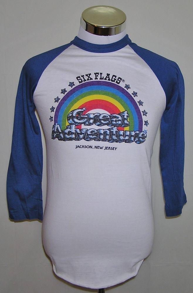 Six Flags Great Adventure Jackson New Jersey Vintage 80 S 50 50 T Shirt Size M Shirt Size Shirts Six Flags Great Adventure