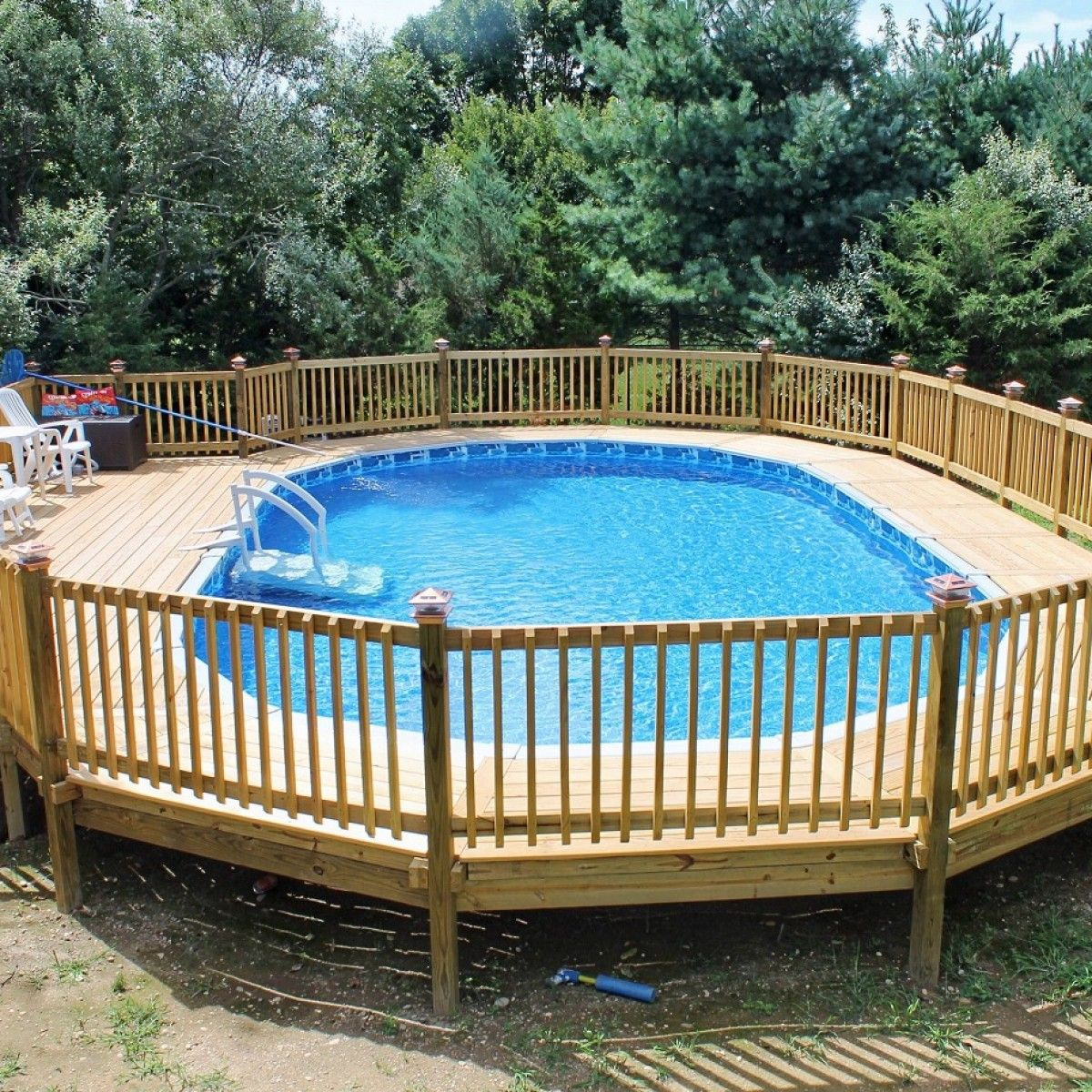 Swiming Pools Above Ground Pool Decks With Wooden Fence