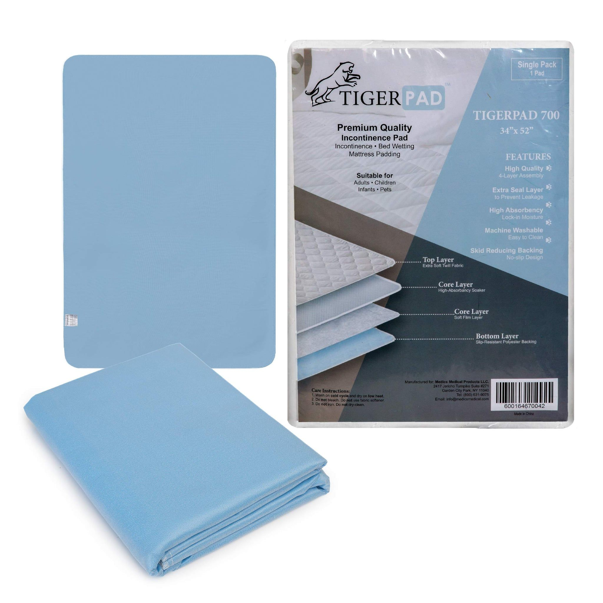 Tigerpad 4Pack Washable Incontinence Bed Pads Bed pads