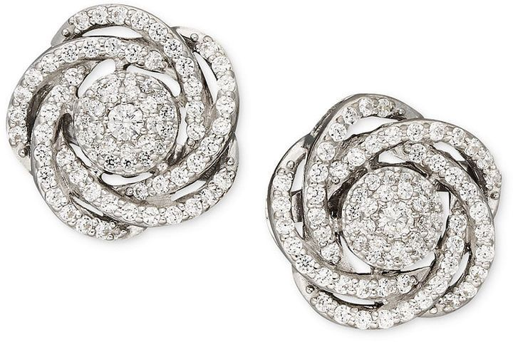 Wrapped in LoveTM Diamond Earrings, 14k White Gold Diamond Pave Knot Earrings (1 ct. t.w.) on shopstyle.com