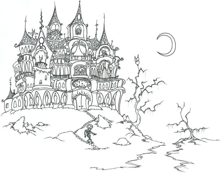 Halloween Coloring Pages For Adults Halloween Coloring Pages For Adults Col Halloween Coloring Pages Printable Halloween Coloring Sheets Castle Coloring Page