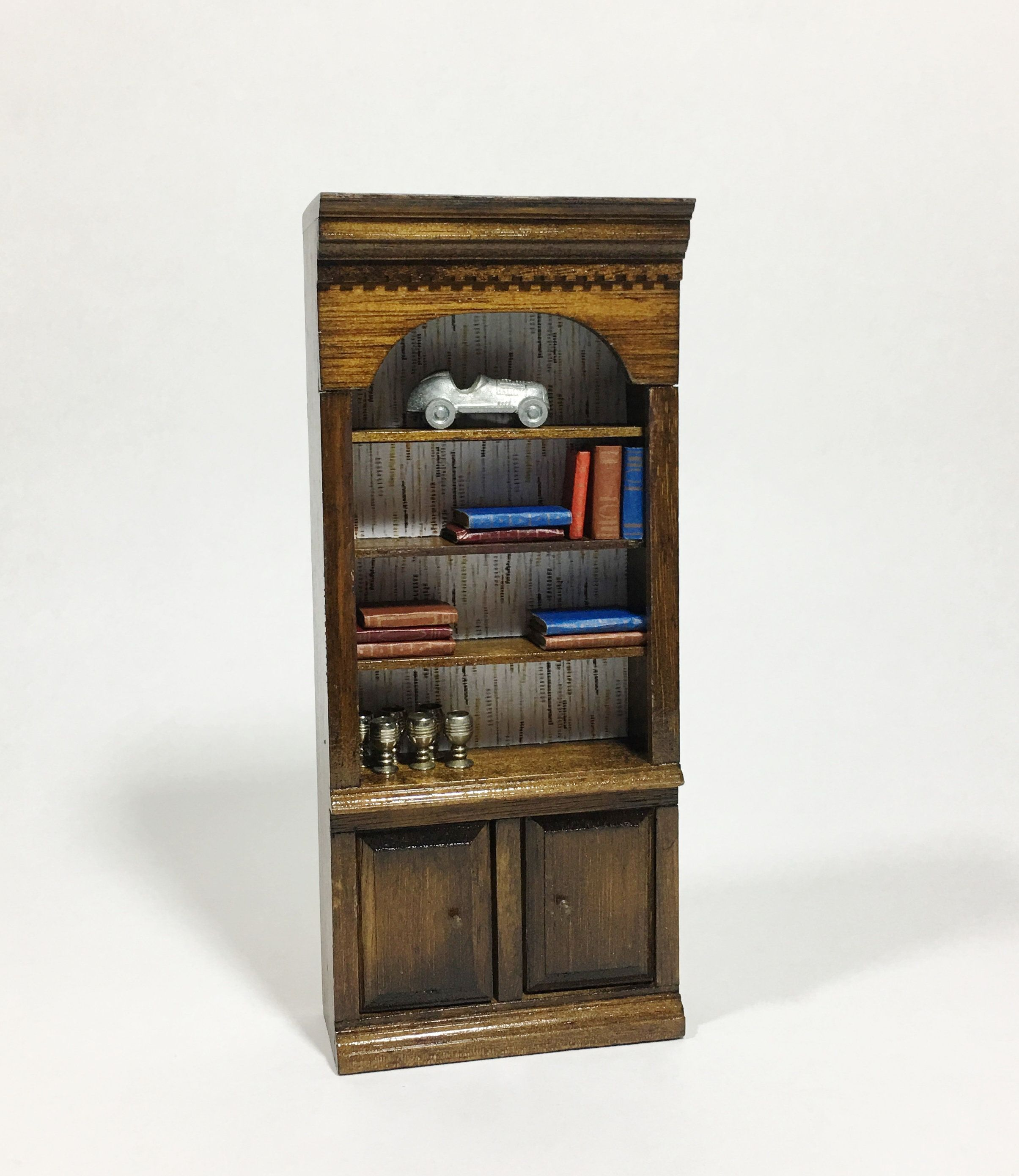 Vintage Wood Dollhouse Bookcase Book Shelf Upcycled Miniature Doll Office