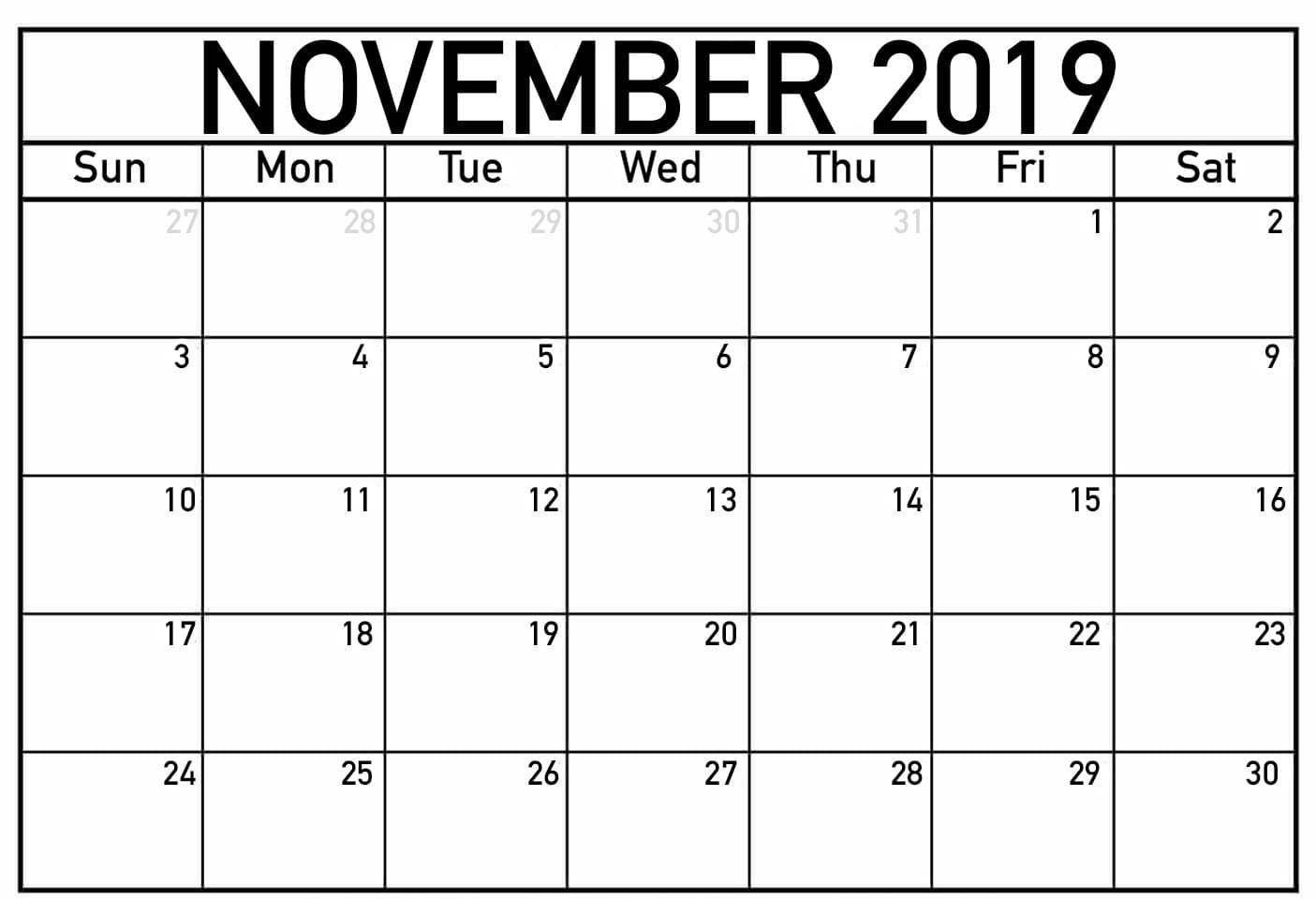 Cute November 2019 Calendar Printable Calendar Template Free Calendar Template Free Printable Calendar Templates