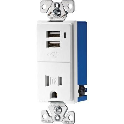 Eaton 15 Amp Decorator Usb Charging Electrical Outlet White Tr7740w K The Home Depot Electrical Outlets Usb Outlet Wall Outlets