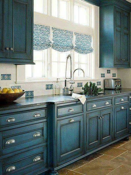 Blue cabinets with light grey kitchen colors. Different! | Country kitchen farmhouse, Kitchen ...