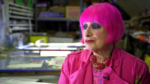 """I love museums, I'm a museum groupie"" - Zandra Rhodes  Zandra Rhodes recommends visiting a museum if you are looking for inspiration and noticing anything that catches your eye.  In the video she discusses her Elizabethan Slashed Silk Collection of 1971, which was inspired by two different museum collections. The shapes were inspired by the sixteenth century Native American costumes from her visit to the Museum of the American Indian in New York, and her use of slashed fabric was influe..."
