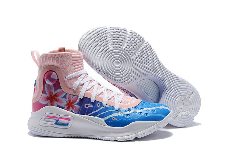 promo code 9f08c b4194 Mens Under Armour Stephen Curry 4 Custom Floral White Pink Blue Basketball  Shoe