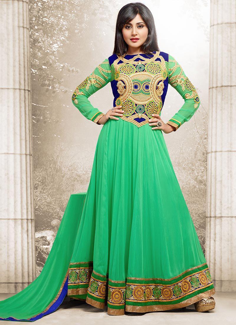 Fab Rimi Sen Georgette Ankle Length Anarkali Indian clothes I like