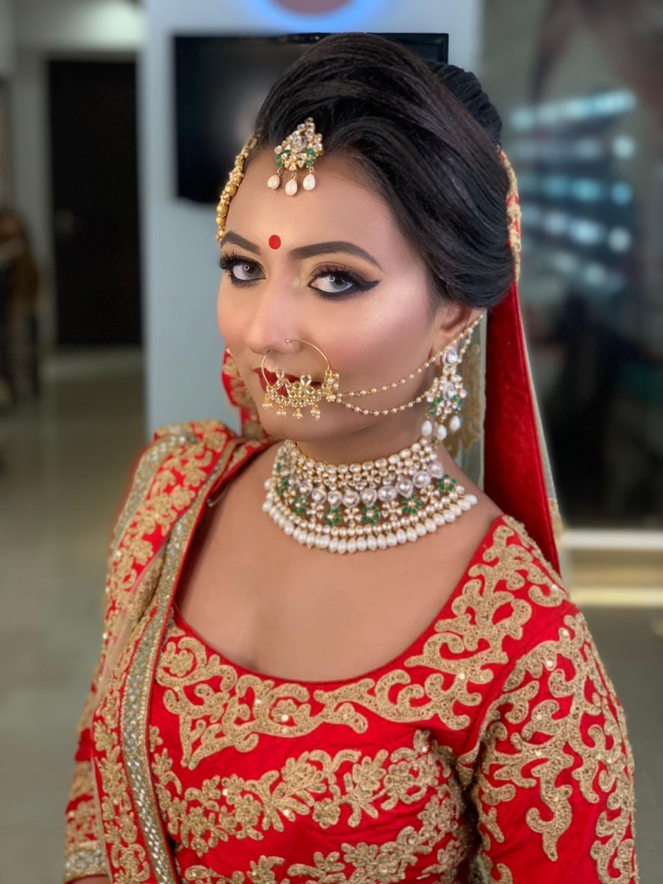 Bridal makeup done at this beautiful girl by Meenakshi
