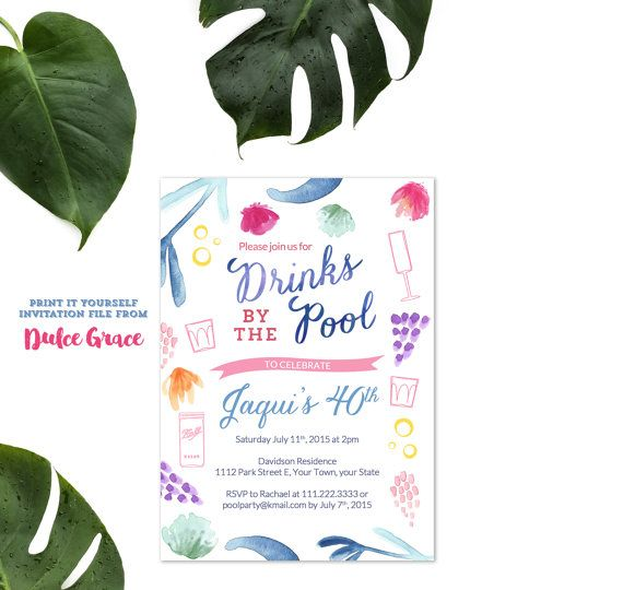 Adult Pool Party Birthday Invitation Adult Beach Party  KaylynS