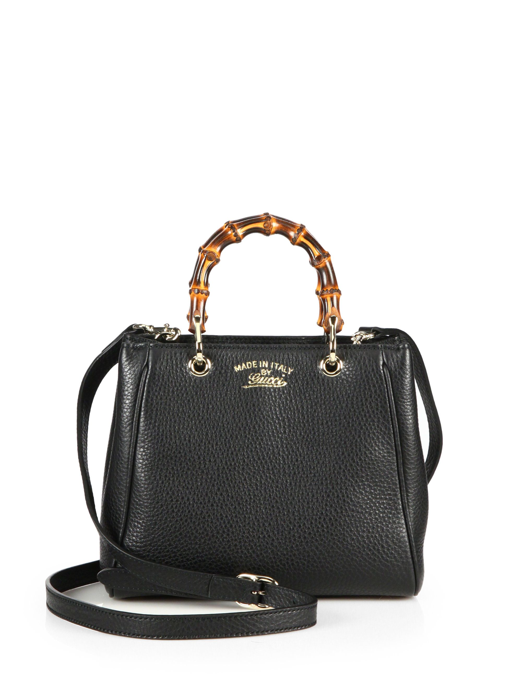 b84b33657522 Gucci Bamboo Shopper Mini Leather Top Handle Bag in Black (NERO-BLACK)