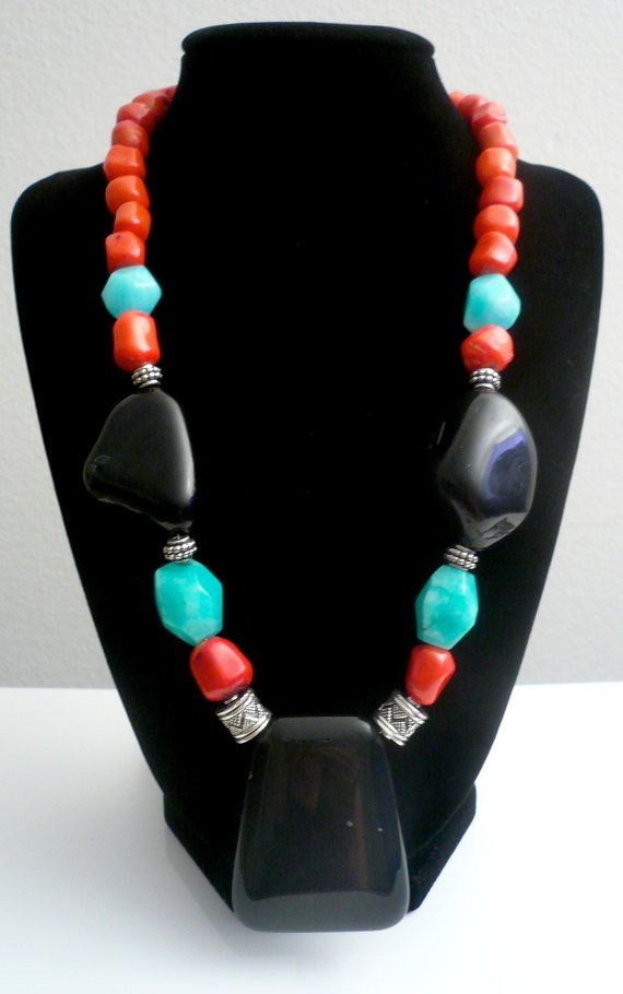 GlamROX Stunning Red Coral Black Onyx and Turquoise by GlamRox  www.glamrox.com