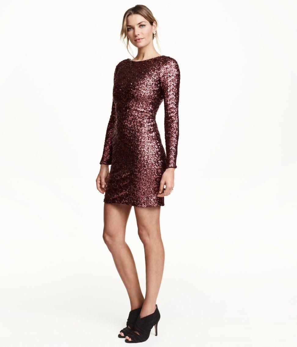 Product Detail | H&M NL | Weinrotes kleid, Pailletten ...