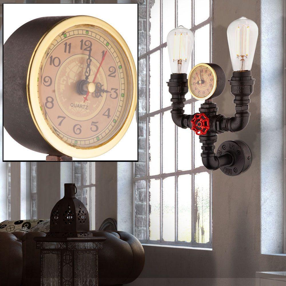 Details Zu Retro Wand Lampe Wintergarten Beleuchtung Rohr Leitung Uhr Leuchte Schwarz Gold