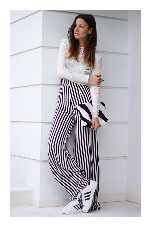 7 Tipos De Calca Pantalona Conjunto De Ropa Juvenil Pantalon Rayas Atuendos De Moda Para Mujer