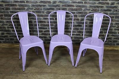vintage industrial tolix style stacking chairs in lilac more colours