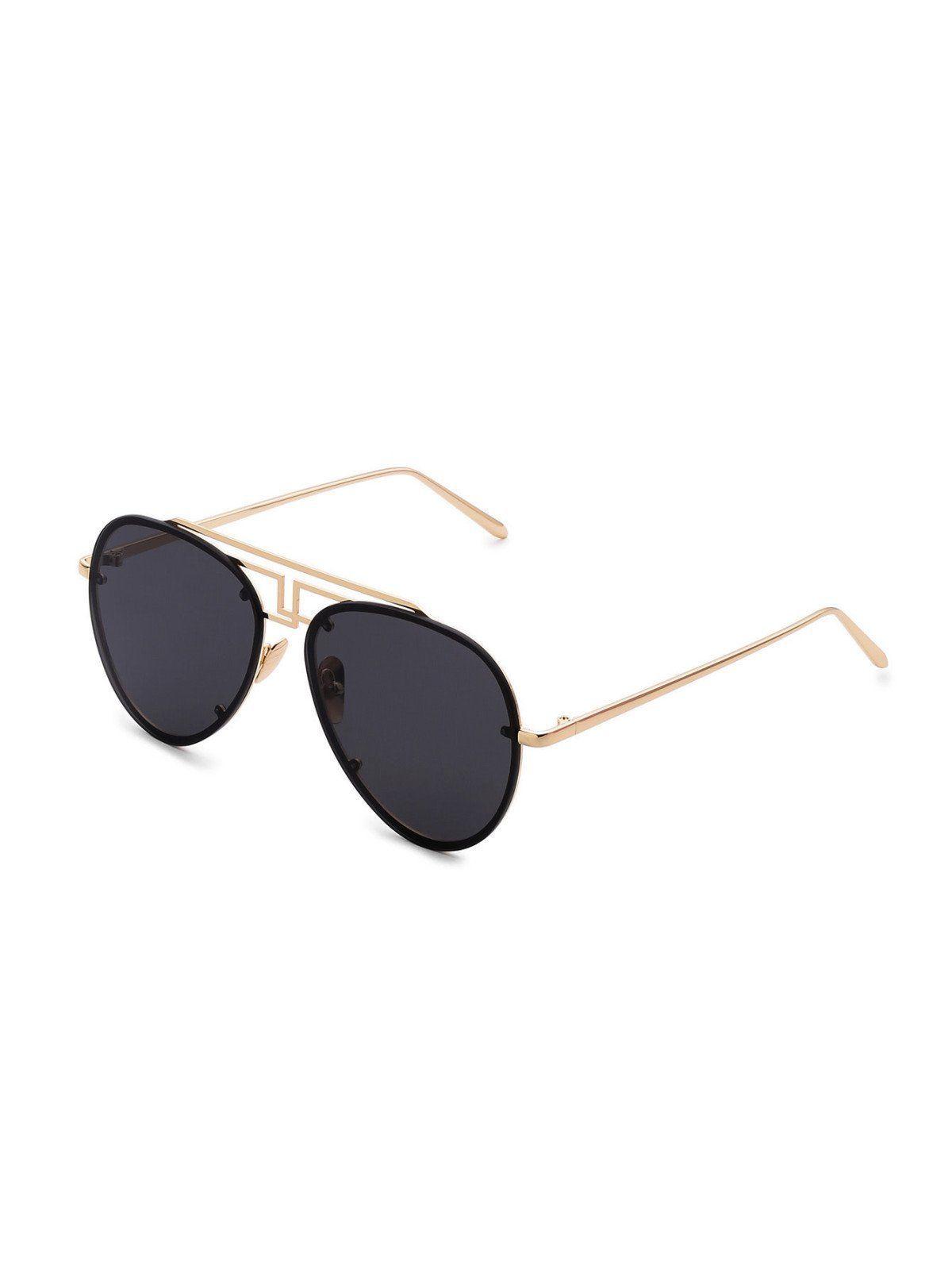 526d0ed2c5 Asymmetrical Top Bar Rimless Aviator Sunglasses