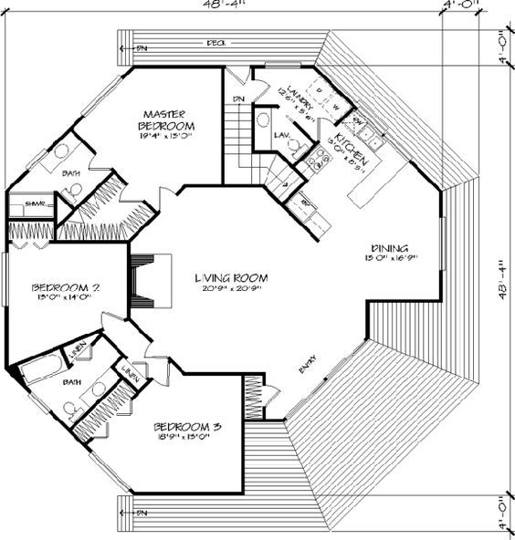 The Octagon 1371 3 Bedrooms And 2 Baths The House Designers Octagon House Round House Floor Plan Design
